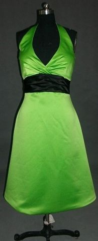 Lime green bridesmaid dresses with black sash
