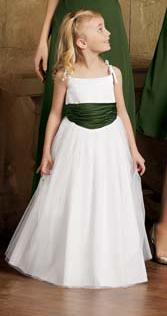 Satin and tulle flower girl dress white and green flower girl dress mightylinksfo