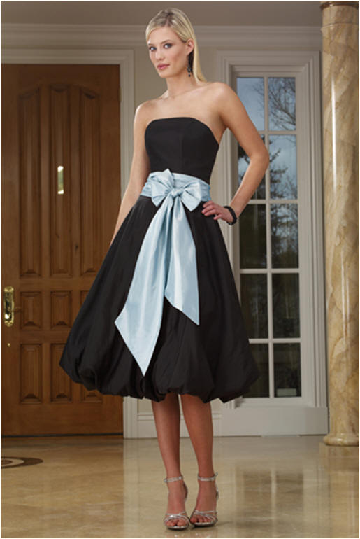Black cocktail dress with colored sash