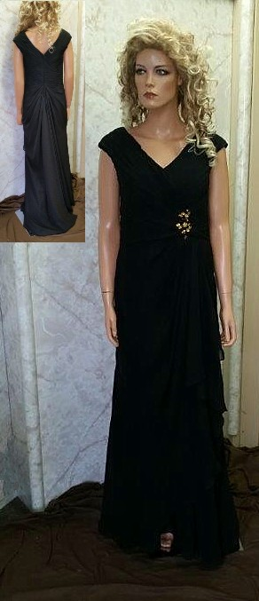 Black v neck bridesmaid dress