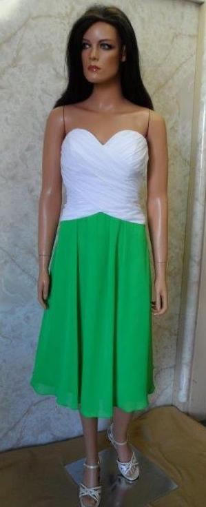 green bridesmaid dress with white bodice