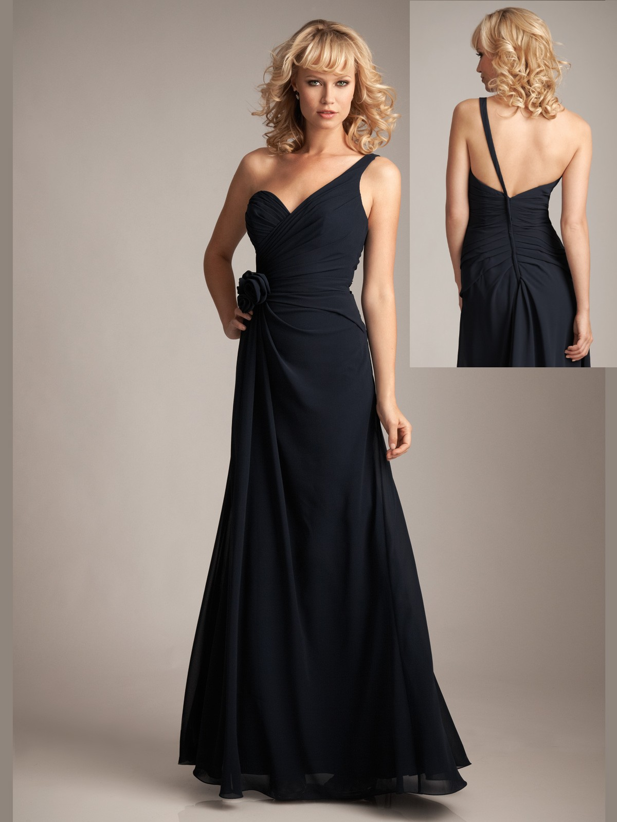 black one strap bridesmaid dress