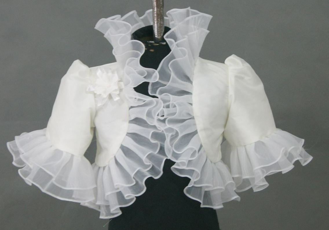 White Bolero Jacket with Ruffled Edge