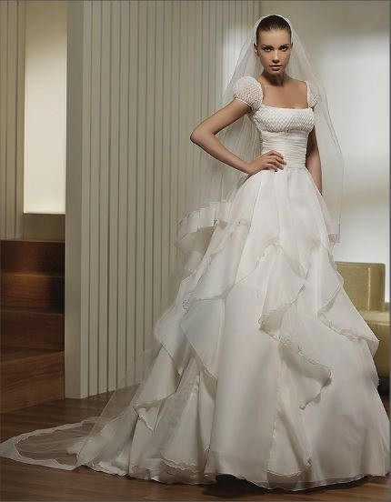 Layered Ruffle Wedding Dress