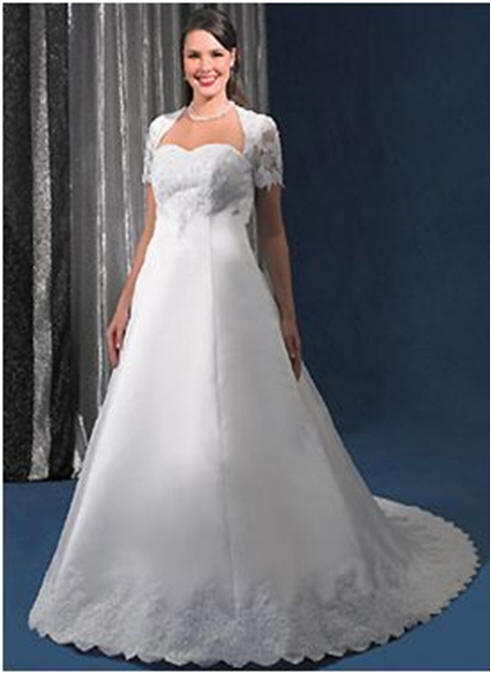 white satin wedding gown with lace jacket
