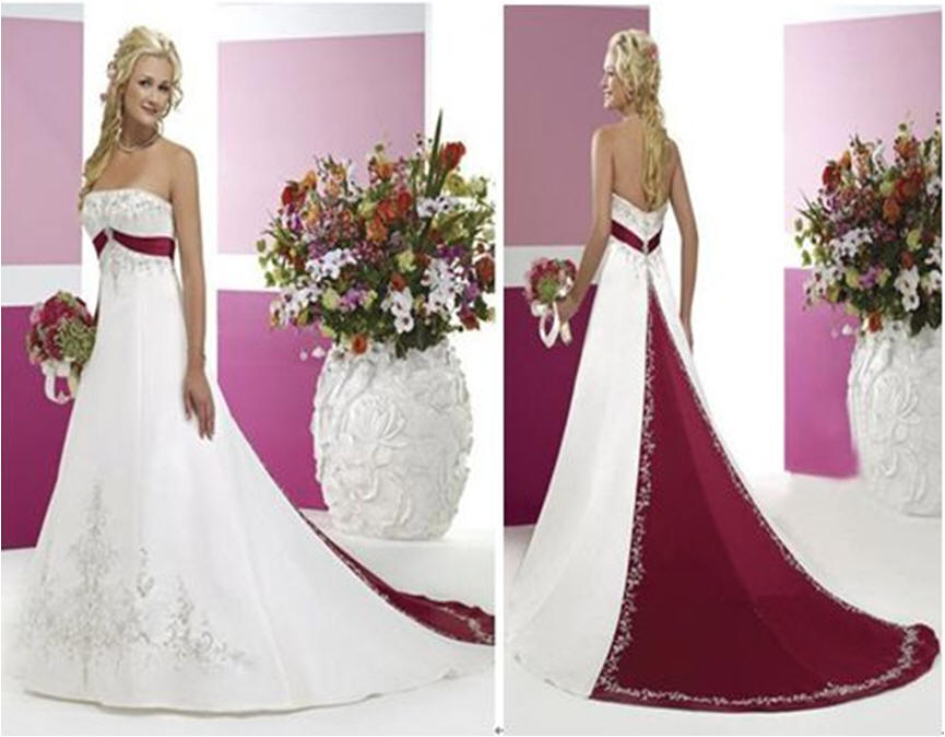 white and merlot wedding dresses with color
