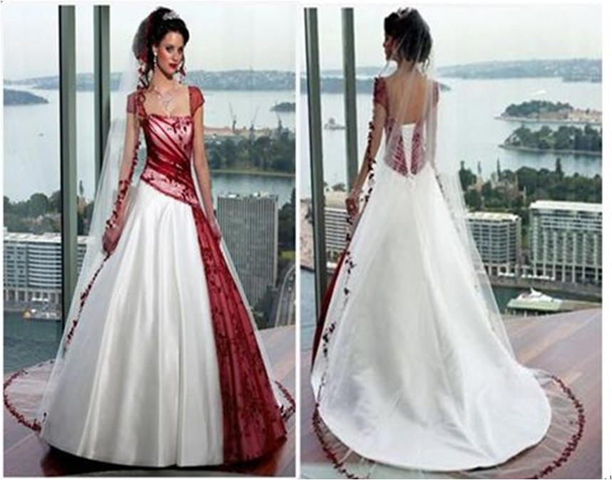 Bridal gowns with color ~ red and white wedding dress with cap sleeves.