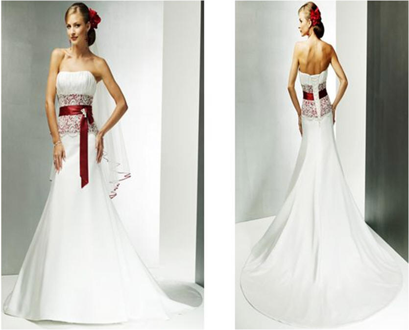 Wedding Gown In White And Red Dress 1014