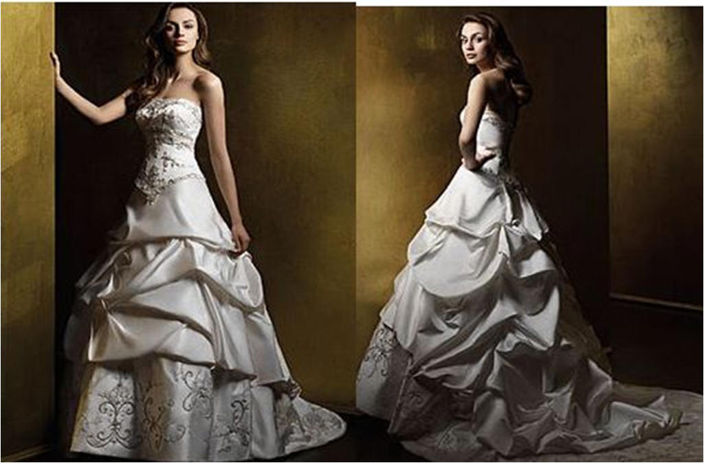 bridal gowns with pick up skirt