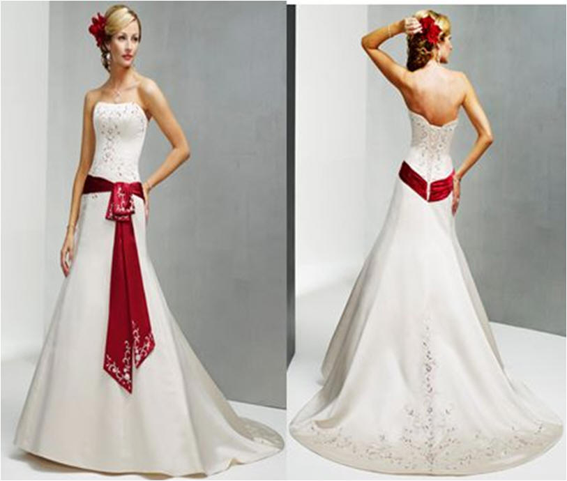 White wedding gown with red bow - color splashed bridal gowns.