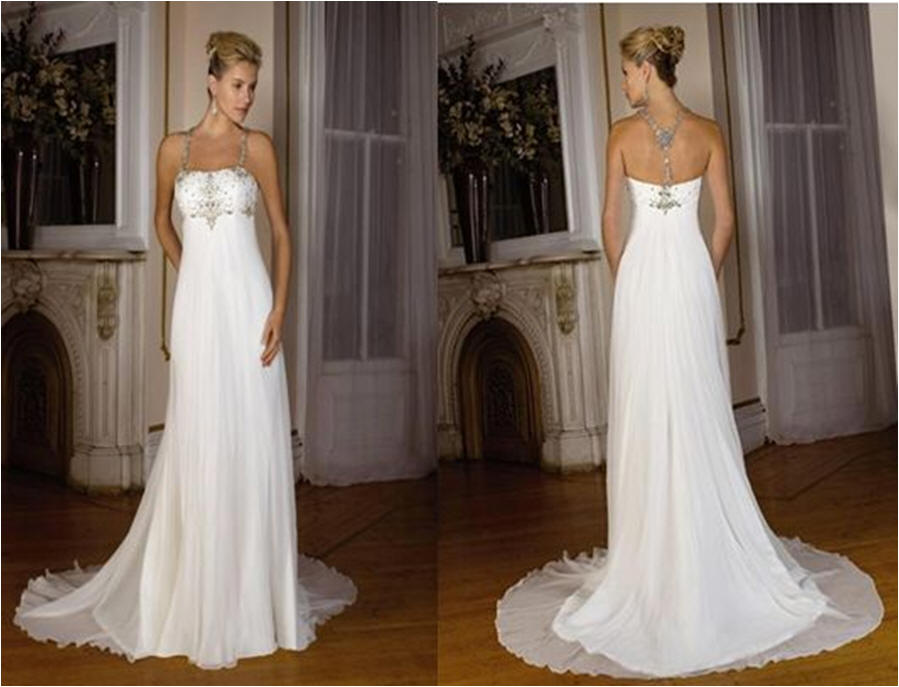 Chiffon Wedding Gowns Sleek Halter Bridal Gown