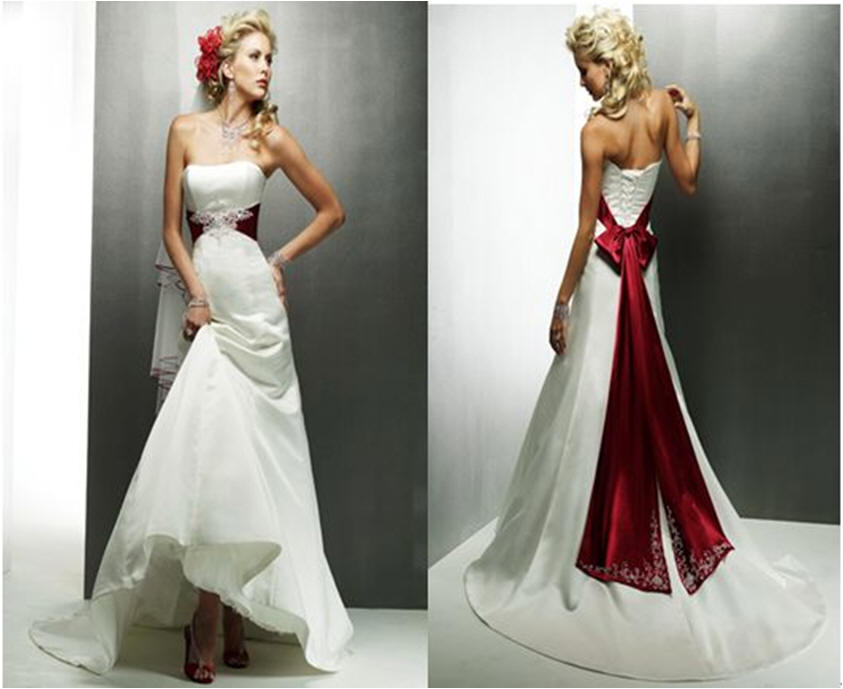 Ivory red wedding dresses.