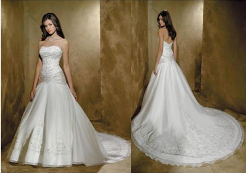 Strapless asymmetrical wedding gown