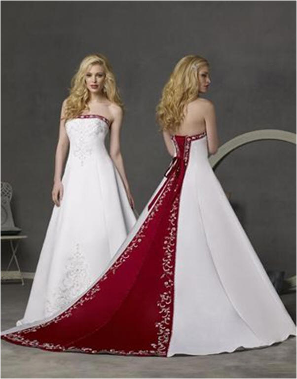 White and merlot wedding gown.