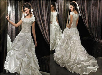 bridal gowns with ruched skirt