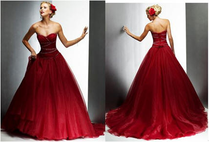 red strapless gown