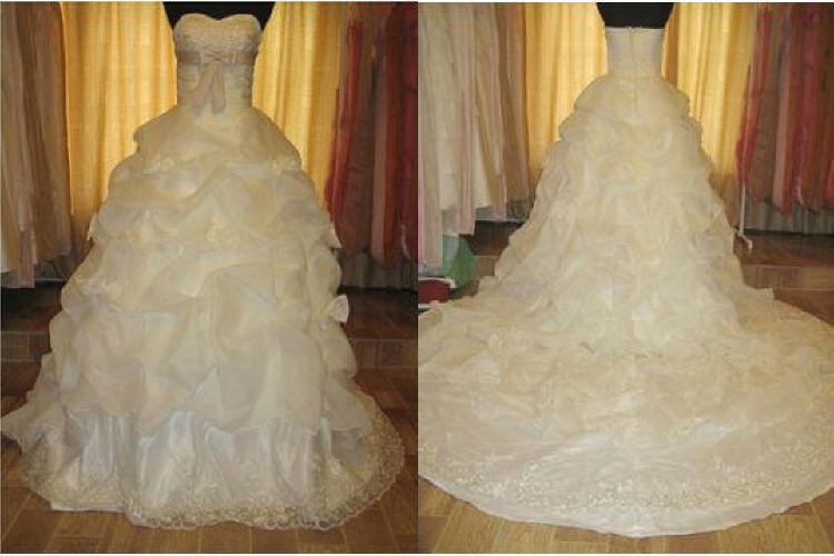 wedding gown with pick up skirt