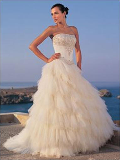 shirred layer wedding dress