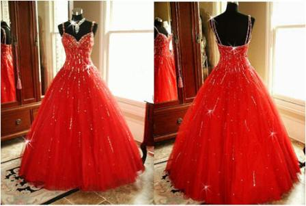 red spaghetti strap dress for junior pageant