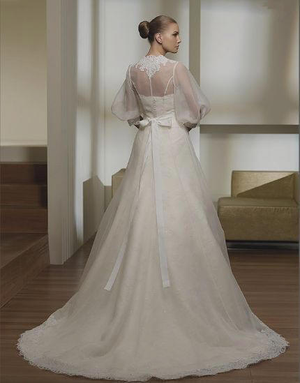 Bridal gown with Floor Length Sheer Jacket