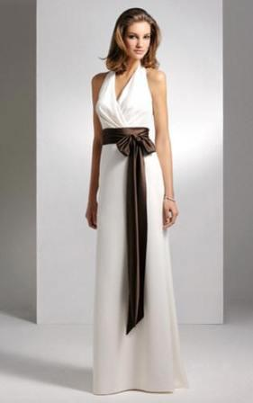 Ivory modest Bridesmaid Gown with chocolate brown sash