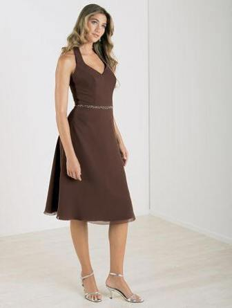 Cheap Fall Brown Dresses Cheap short halter bridesmaid