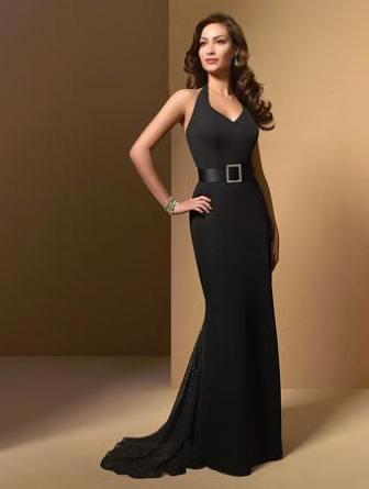 Black Satin Bridesmaid Gown with elegantly belted waistline.