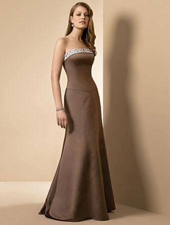 brown satin evening dress