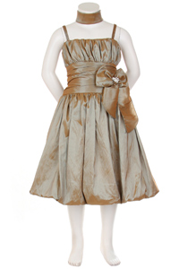 caramel flower girl dress with ruched bubble hem
