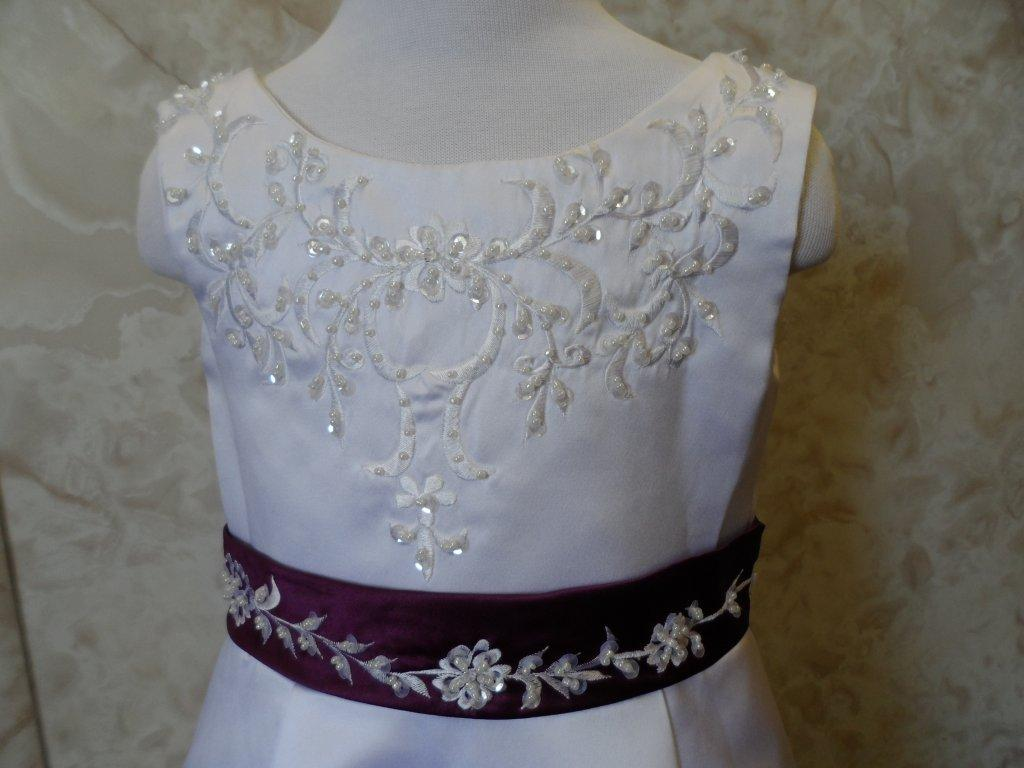 0ea7a099a92 ... White embroidered flower girl dress with grape waist band