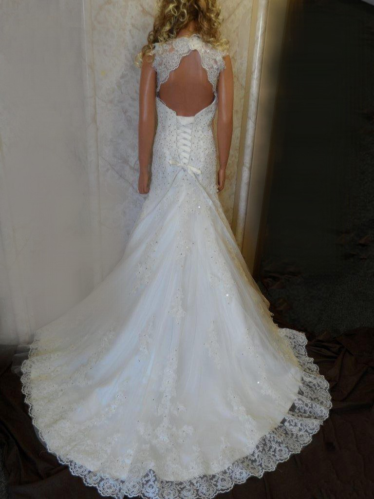 Lace wedding dress with open back and beaded wedding sash for Lace wedding dresses open back