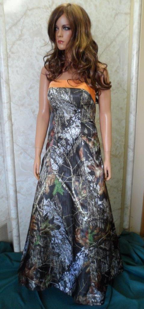 Mossy Oak Bridesmaid dress with Tangerine