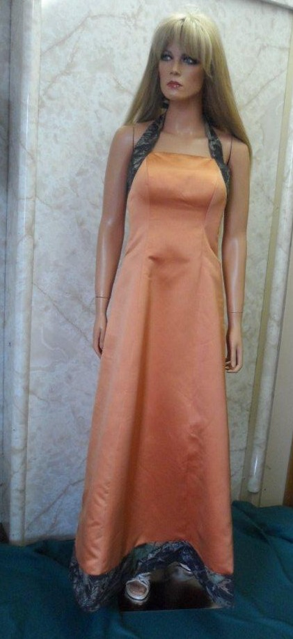 orange and camouflage bridesmaids dresses