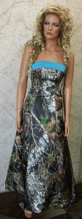 camo prom dress with turquoise trim