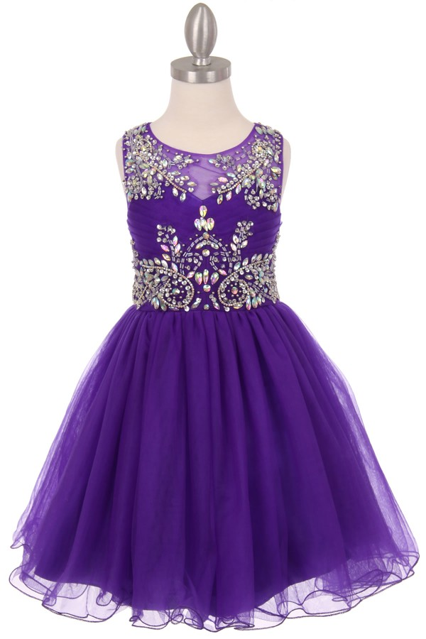 purple little girls party dresses