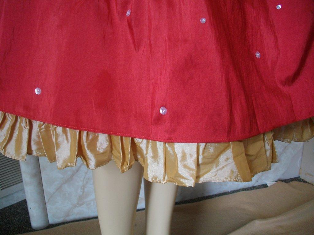 red and gold dress ruffle