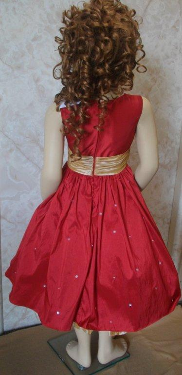 Sleeveless red and gold girls dress
