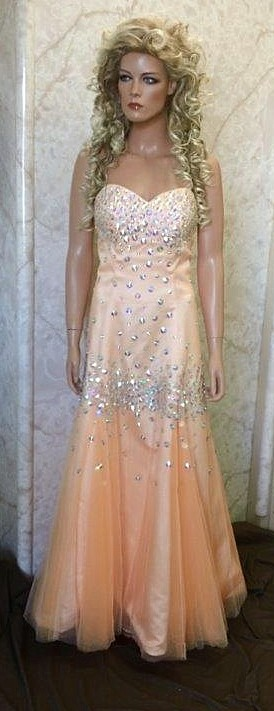 tangerine organza prom dress with beads