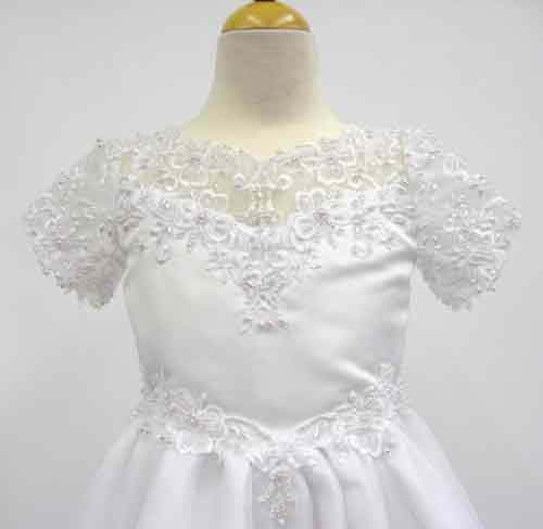 Scalloped lace communion dress