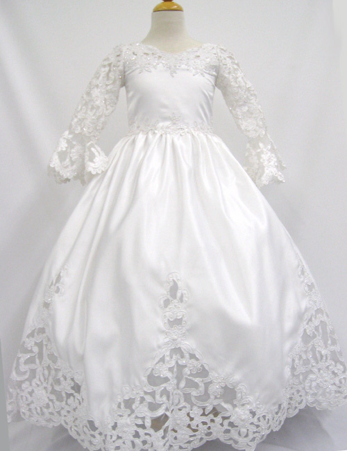 Communion Dress with cutout work
