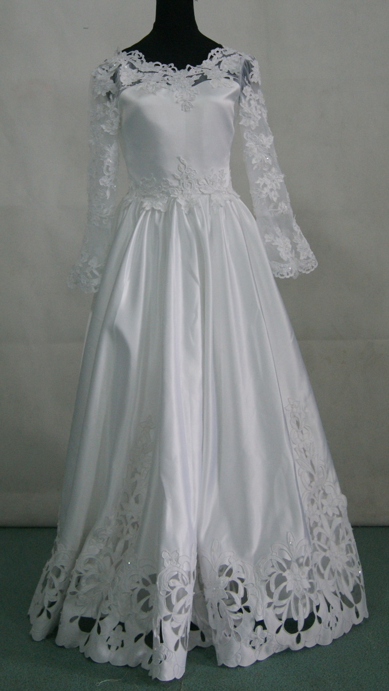 long sleeve Communion Dress with cutout work