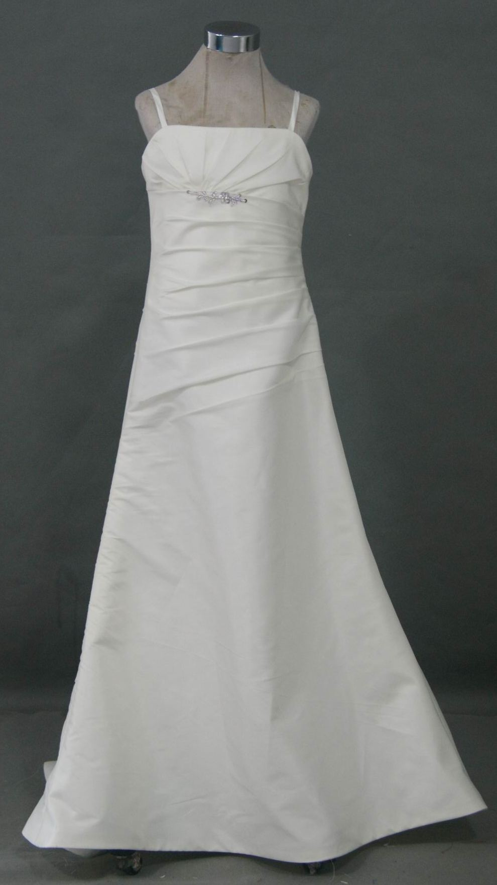 Strapless silky taffeta wedding gown