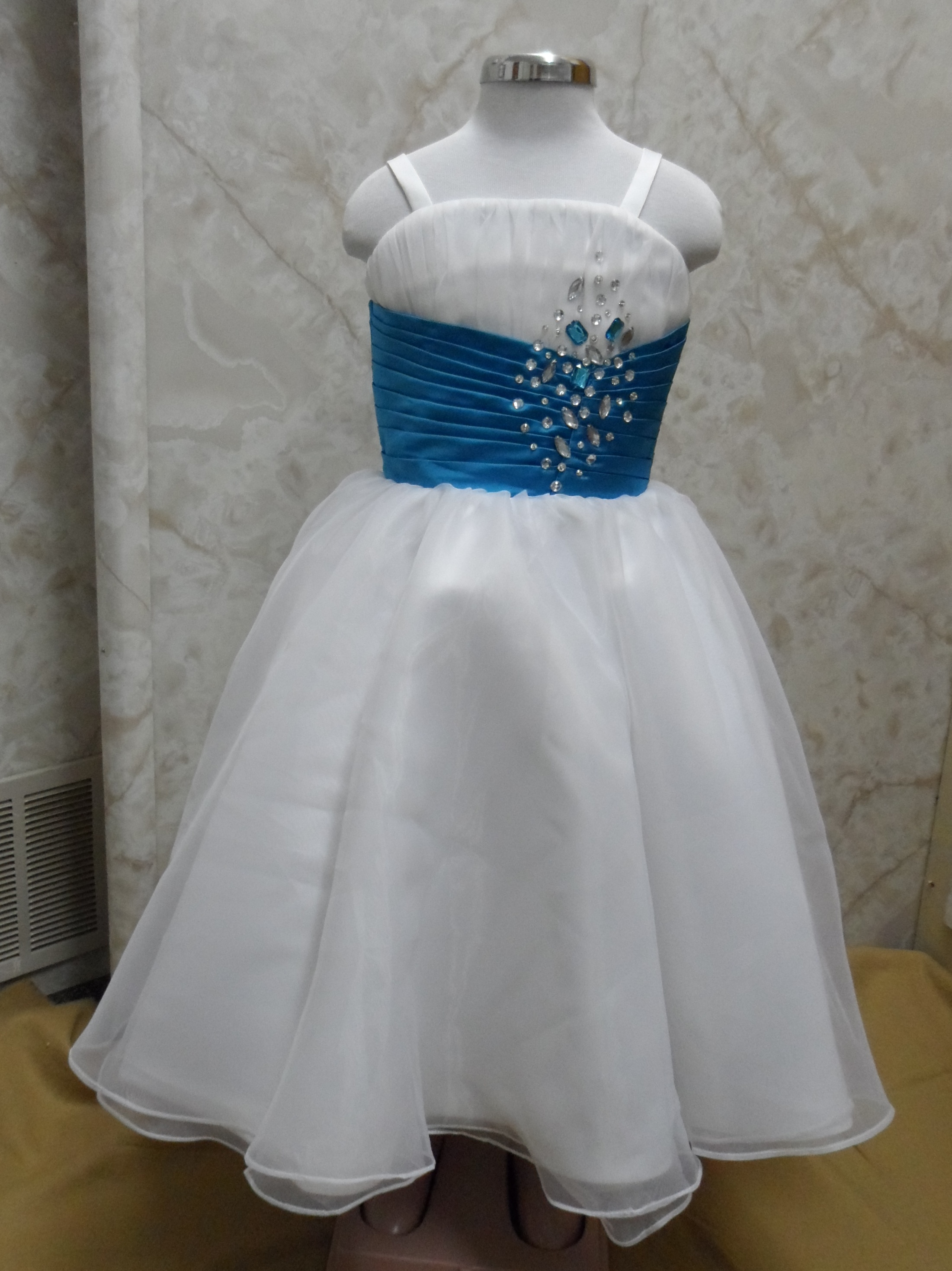 Long White And Turquoise Flower Girl Dress