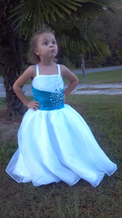 Long white and turquoise flower girl dress girls special occasion dress mightylinksfo