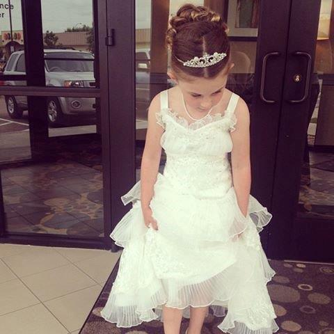 Lace flower girl wedding dress for Matching wedding and flower girl dresses