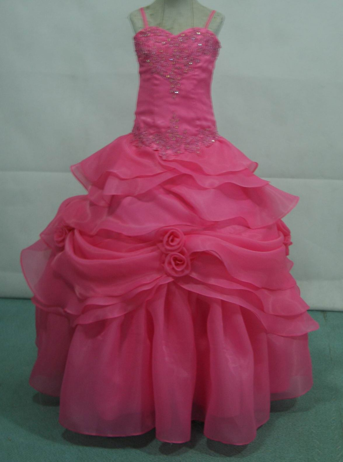 pink organza pageant dress