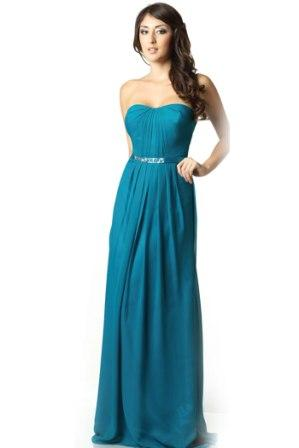 long teal chiffon bridesmaid dress