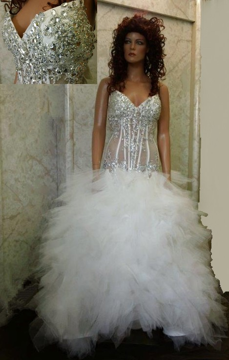 Wedding sheer wedding dress jeweled sheer wedding dress junglespirit Gallery
