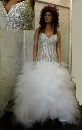 Sheer illusion jeweled wedding Dresses