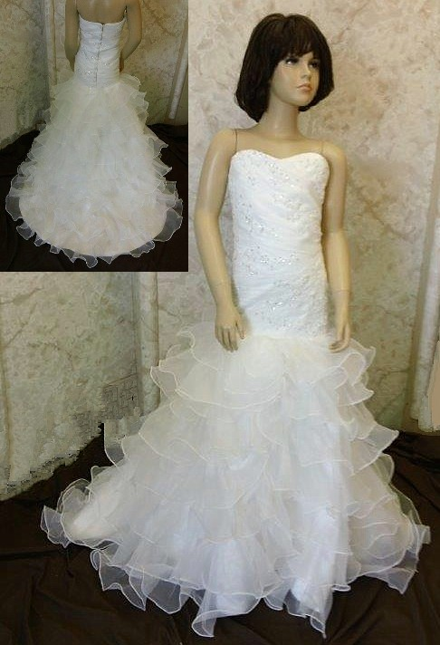 4bdd93da126 ... mermaid flower girl dress with layered flounce train ...